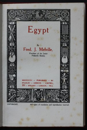 EGYPT. by MELVILLE, Fred  J.