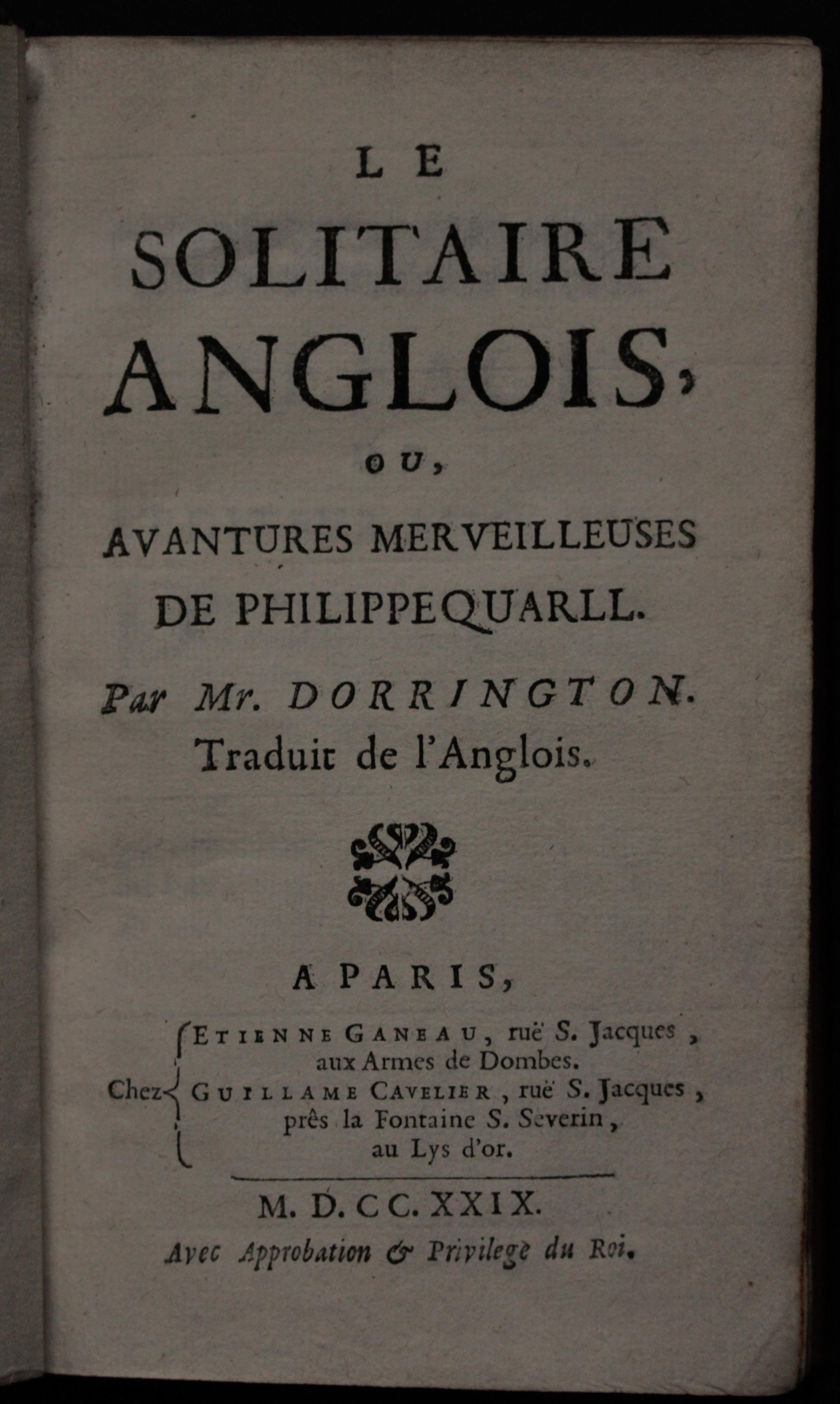 Anglois le solitaire anglois, ou, avantures merveilleuses de philippe quarl. par… -  david miles books