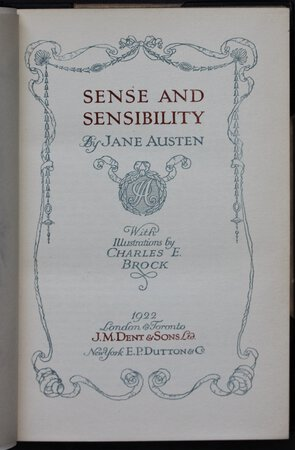 SENSE AND SENSIBILITY. With Illustrations by Charles E. Brock. by AUSTEN Jane.