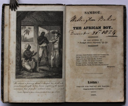 """SAMBOE; The African Boy. By the author of """"Twilight Hours Improved,"""" &c. &c. by [HEDGE, Mary Anne,]."""