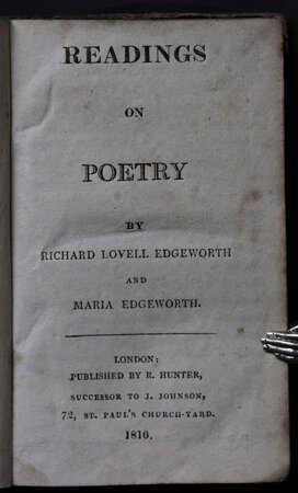 READINGS ON POETRY. by EDGEWORTH, Richard Lovell and Maria Edgeworth.