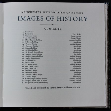 Manchester Metropolitan University IMAGES OF HISTORY. by WYKE, Terry and others.