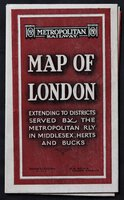 METROPOLITAN RAILWAY CONNECTIONS also see key maps of theatres, railway termini, places of interest, &c., on reverse side. Cover titles: Metropolitan Railway. MAP OF LONDON extending to Districts served by the Metropolitan Rly in Middlesex, Herts and Bucks. Baker St. Station. N.W.1. R. H. Selbie General Manager. Print code: G.1608/100,000
