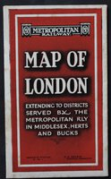 METROPOLITAN RAILWAY CONNECTIONS also see key maps of theatres, railway termini, places of interest, &c., on reverse side. Cover titles: Metropolitan Railway. MAP OF LONDON extending to Districts served by the Metropolitan Rly in Middlesex, Herts and Bucks. Baker St. Station. N.W.1. R. H. Selbie General Manager. Print code: G.3285/50.M