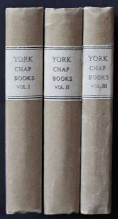A good collection of some 35 chapbook titles issued by James Kendrew of York circa 1830, bound in three volumes. Of the 35 titles, 21 are from the Halfpenny Book series (16 pages.); 13 are from the Penny Book Series (32 pages) and one from the Penny Book series (24 pages.). All are in fine condition and illustrated throughout with woodcuts. All bound with original wrappers as issued.
