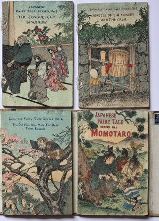 Japanese Fairy Tale Series. Numbers 1 - 4. MOMOTARO or, The Little Peachling. THE TONGUE-CUT SPARROW. BATTLE OF THE MONKEY AND THE CRAB. THE OLD MAN WHO MADE THE DEAD TREES BLOSSOM.