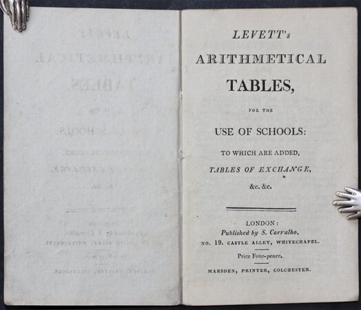 LEVETT'S ARITHMETICAL TABLES, for the use of schools: to which are added, Tables of Exchange, &c. &c.