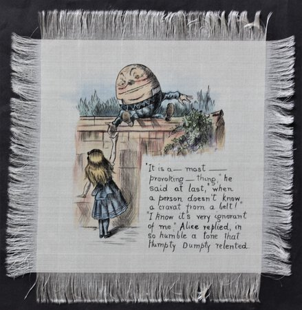 ALICE IN WONDERLAND. A set of twelve silk doilies with pen & ink drawings, heightened with watercolour, after John Tenniel's illustrations to Alice's Adventures in Wonderland, each incorporating text from the book.