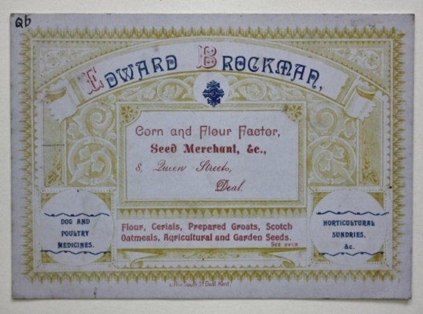 Trade card of Edward Brockman, Seed Merchant of Deal in Kent.