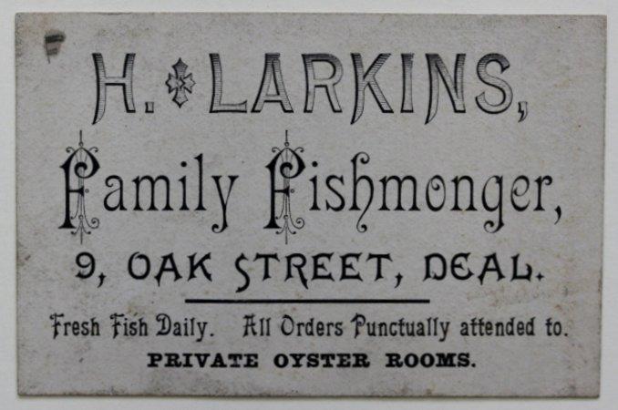 Trade Card of H. Larkins Fishmonger of Deal, in Kent.