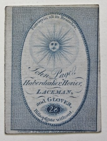 Trade card for John Page, Haberdasher, Hosier, Laceman, and Glover.