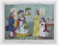 A hand-coloured engraved cartoon entitled, 'A Visit to the Boarding School'.