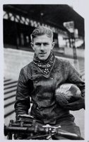 Real photographic postcard of Eric 'Rickie' Chitty, speedway rider.