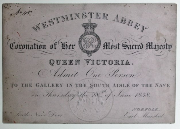 Ticket for the Coronation of Queen Victoria.