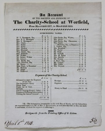 A printed 'Account' of the Charity-School at Worfield