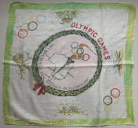 MELBOURNE OLYMPIC GAMES by MELBOURNE OLYMPICS SILK SOUVENIR HANDKERCHIEF.