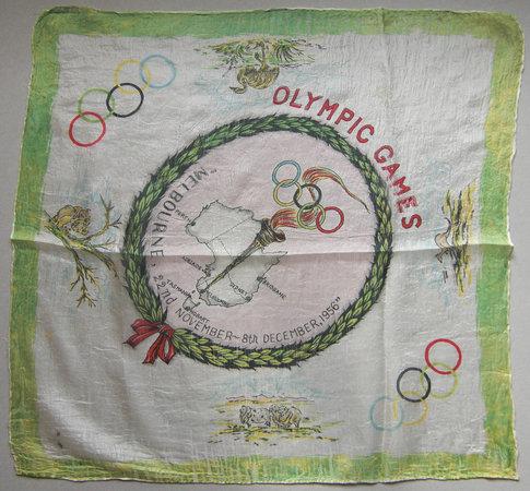 MELBOURNE OLYMPIC GAMES by MELBOURNE OLYMPICS SILK SOUVENIR HANDKERCHIEF.