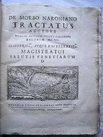 DE MORBO NARONIANO TRACTATUS by [MALARIA]. PUJATI, Guiseppe.