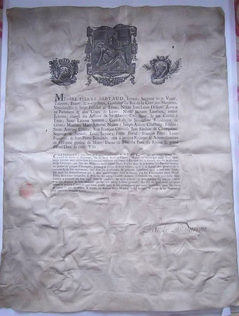LICENCE TO PRACTICE SURGERY IN LYON. LARGE CERTIFICATE PRINTED ON VELLUM by [SURGICAL LICENCE ON VELLUM].