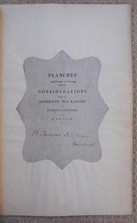 PLANCHES APPARTENANT À L'OUVRAGE INTITUTLÉ, CONSIDÉRATIONS SUR LA DIVERSITÉ DES BASSINS by VROLIK, Gerardus.