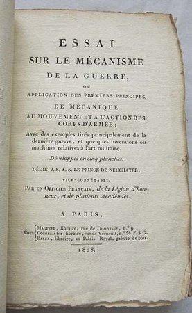 ESSAI SUR LE MÉCANISME DE LA GUERRE, by [RÉVÉRONI SAINT-CYR, Jacques Antoine].