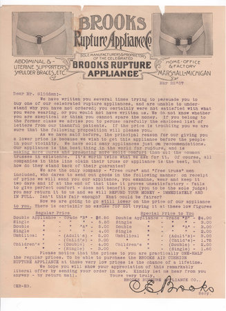 FORM LETTER ON HEADED PAPER by [HERNIAS]. BROOKS RUPTURE APPLIANCE CO.,
