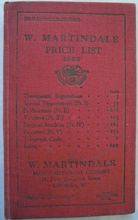 PRICE LIST AND THERAPEUTIC SUGGESTIONS by [CHEMIST TRADE CATALOGUE]. MARTINDALE, W.