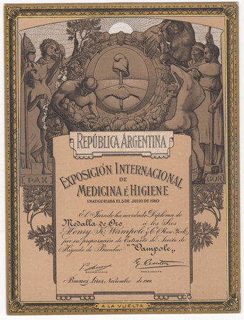 REPÚBLICA ARGENTINA. EXPOSICIÓN INTERNATIONAL DE MEDICINA É HIGIENE by [BOTANIC MEDICINE]. [INTERNATIONAL HEALTH EXHIBITION]. WAMPOLE, Henry K. & Co.,