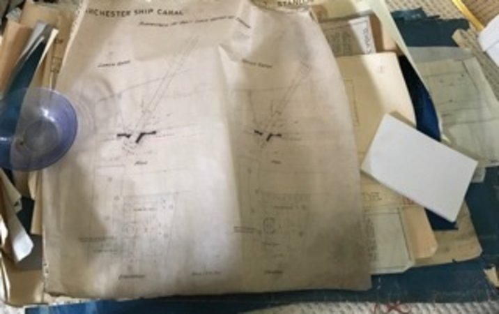 UNIQUE ARCHIVE OF SOME 200 LARGE ROLLED PLANS, BLUEPRINTS AND TECHNICAL DRAWINGS by [ENGINEERING]. MANCHESTER SHIP CANAL.