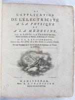 DE L'APPLICATION DE L'ELECTRICITE by PAETS VAN TROOSTWYK, Adriaan and Cornelius Rudolph KRAYENHOFF.