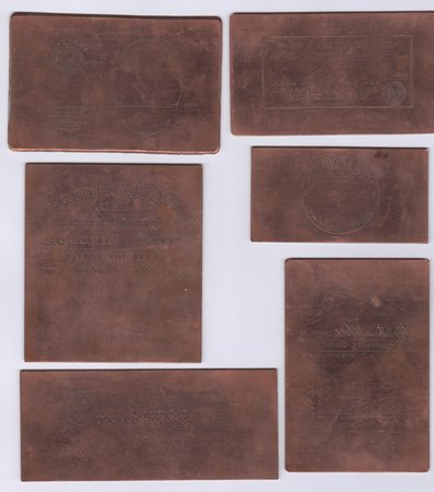 SMALL COLLECTION OF SEVEN COPPER PRINTING PLATES FOR PHARMACEUTICAL LABELS, by [PRINTING HISTORY.]