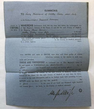 PRINTED SUMMONS TO 'LUCY KIRKLAND OF WETLAND ROCKS NEAR LEEK, by [SOCIAL HISTORY.] [LEGAL SUMMONS.]