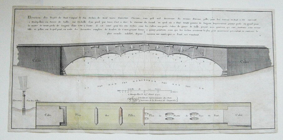 HAND-COLOURED ENGRAVING FOR A BRIDGE IN MONTPELLIER by [BRIDGE BUILDING].