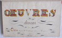 MOST ATTRACTIVE FRENCH CALLIGRAPHIC MANUSCRIPT EXERCISE BOOK, 'OEUVRES DIVERSES', by [STUDENT ARITHMETIC.] CHÊNE, Eugène.