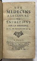 LES MÉDECINS À LA CENSURE by [MOLIERE.] BEZANÇON, Germain de.