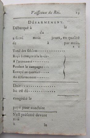 'LIVRET POUR LES MATELOTS' by [MARITIME REGISTRATION.]