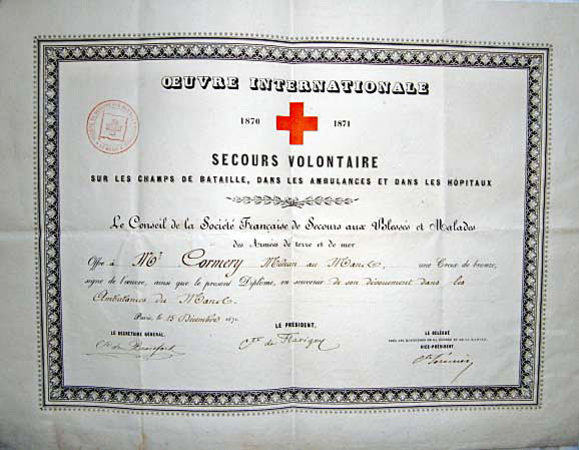 [RED CROSS DIPLOMA]. SECOURS VOLONTAIRE SUR LES CHAMPS DE BATAILLE, by [MILITARY MEDICINE].