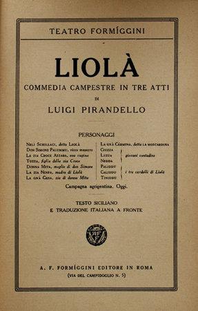 Liola. by PIRANDELLO, Luigi
