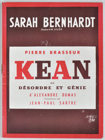 Kean. [Theatre programme for the first season at the Théatre Sarah Bernhardt, Paris.] by (SARTRE, Jean-Paul after Alexendre Dumas).
