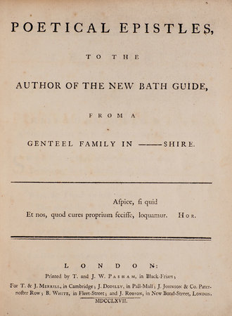 Poetical Epistles to the Author of the New Bath Guide, from a genteel Family in ——shire by (ANSTEY, Christopher).