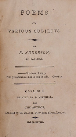 Poems on various Subjects... by ANDERSON, Robert.