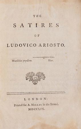 The Satires... by ARIOSTO, Lodovico.