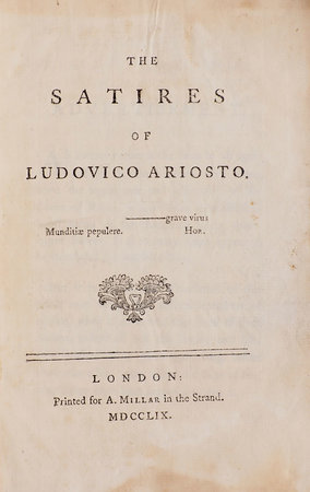 The Satires... by ARIOSTO, Lodovico.