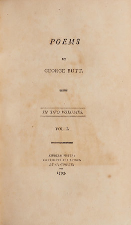 Poems... by BUTT, George.