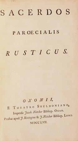Sacerdos paroecialis rusticus. by [BURTON, John].
