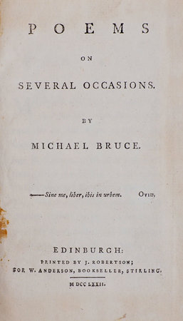 Poems on several Occasions... by BRUCE, Michael.