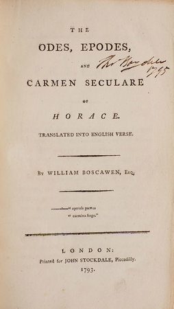The Odes, Epodes, and Carmen Seculare of Horace. Translated into English Verse. by BOSCAWEN, William.