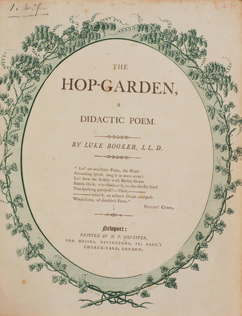 The Hop-Garden, a didactic Poem. by BOOKER, Luke.