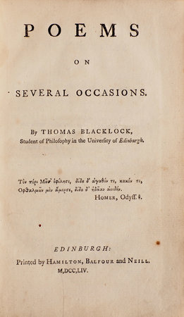 Poems on several Occasions. by BLACKLOCK, Thomas.