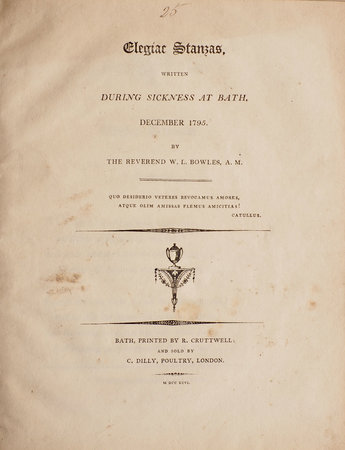 Elegiac stanzas, written during Sickness at Bath, December 1795. by BOWLES, William Lisle.